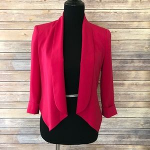 Bebe Hot Pink Shawl Collar Open Cropped Blazer